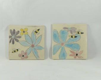 Save the Bees Tile, Trivet, Dish for Plants, Decorative Ceramic Square, Coaster, Wall Art, Anniversary Gift, Birthday Gift, Kitchen Decor