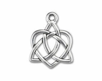 Celtic Trinity Heart Pendant Fine Silver Plated Pewter Heart with Option to Add Sterling Silver Bail