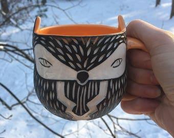 Carved Porcelain Fox Mug