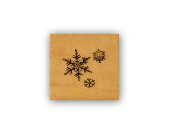 Snowflake Trio mounted rubber stamp, winter, snow, Christmas CMS 7