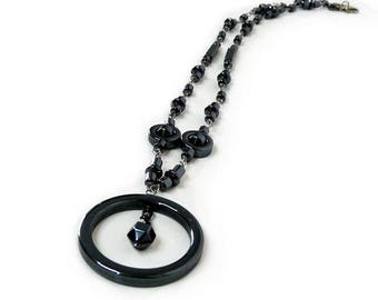 Hematite Necklace Wire wrapped Large Hoop Hematite Pendant