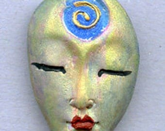 Polymer OOAK Textured Asian Face bead   Abstract Top Drilled  AABT 2