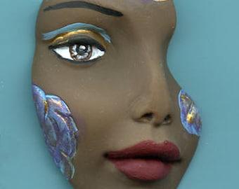 Polymer Clay Beautiful Brown  textured Face Shard  BLKSH 1
