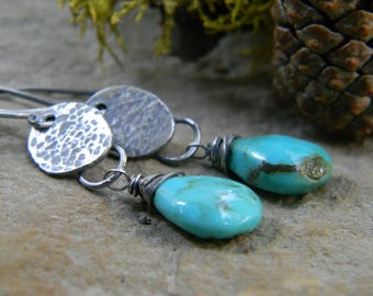 sleeping beauty turquoise earrings - rustic, hammered and oxidized sterling silver - dangle earrings