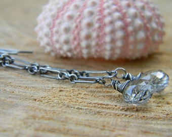 black tourmalinated quartz dangle earrings - oxidized sterling silver - rustic