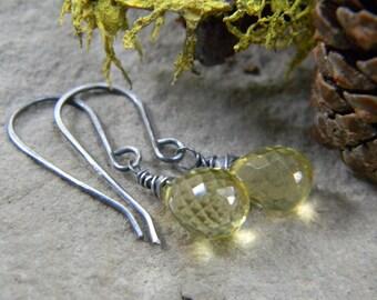 grade AAA sparkling lemon quartz drop earrings -  oxidized silver earrings