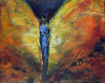 Angel Art Oil Original Abstract Painting Love's Presence ANGEL Vision of Angels Series 20x16 BenWill