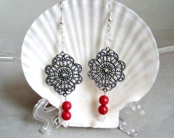 Red Jade, Filigree and Swarovski Crystal Dangle Earrings