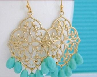 SALE Turquoise Gold Filigree Chandelier Earrings