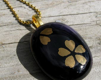 Gold Blossoms Fused Glass Necklace