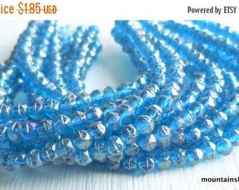 25% OFF Sale 3mm English Cut Beads - Luster Iris Capri Blue - Czech Glass Beads - 50 pcs (SP - 47)