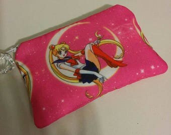 Pink Sailor Moon Padded Zippered Coin Pouch Bank Card Holder Anime Cosplay