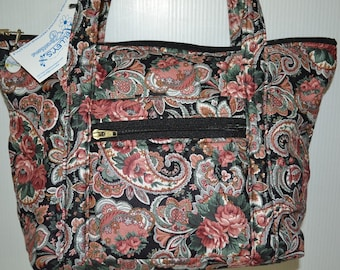 Quilted Fabric Handbag Purse Black with a Beautiful Coral and Green Paisley Design