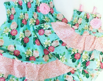 Big Sister Little Sister SUMMER DRESSES --Shabby chic aqua and Pink floral sundress set--new baby..baby shower.. or twin set...