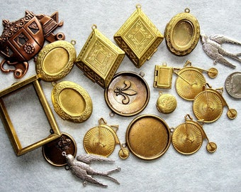 18 Assorted LOCKETS & CHARMS in Antique BRASS Finish