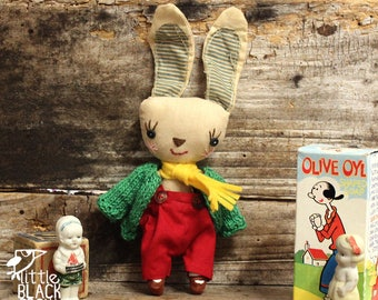Cloth Bunny, primitive, cloth doll, collectible
