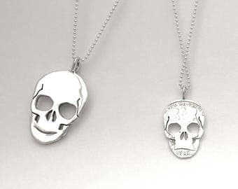 Skull Pendant or Earrings Made from Silver Vintage American Coin Dime Quarter Half Dollar