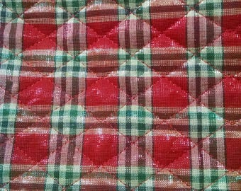 Fabric quilted reversible Christmas plaid green and red