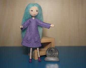 Little Felt Friend doll in lavender dress