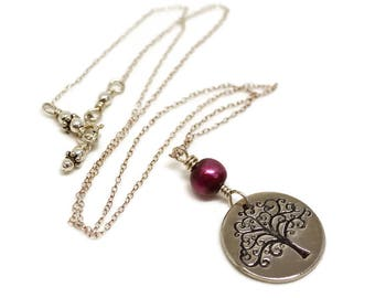 Silver Tree of Life Pendant, Karmic Serenity Collection, Handmade, Charm, red, lilac, pearl, Sterling Silver, wire wrapped, delicate chain