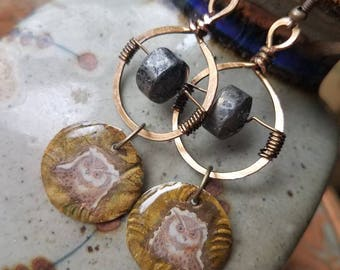 Ancient wisdom Owl earrings with Pyrite