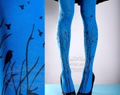 30%off/endsJUL23/ Tattoo Tights -  blue one size Forest Symphony full length closed toe printed tights pantyhose, tattoo socks, printed nylo
