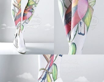 SALE///Happy2018/// Tattoo Tights, Paradise white Closed Toe one size full length printed tights, pantyhose, nylons, tattoo socks