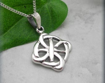 Celtic Everlasting Circle Necklace, Square Pendant, Irish Jewelry, Sterling Silver Celtic Pendant, Celtic Knot Necklace, Minimalist (SN1003)