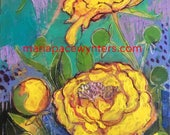 Yellow Peony Garden- mixed media encaustic painting by Maria Pace-Wynters