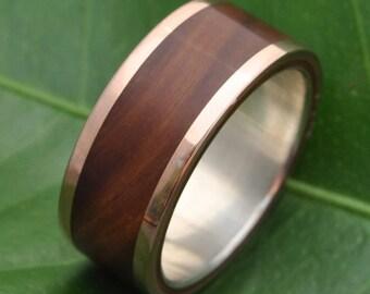 Size 7.5, 8.5mm READY TO SHIP Rose Gold Wood Ring Lados Guayacán, Lignum Vitae Rose Gold Ring, wood wedding band, 14k pink gold wood ring