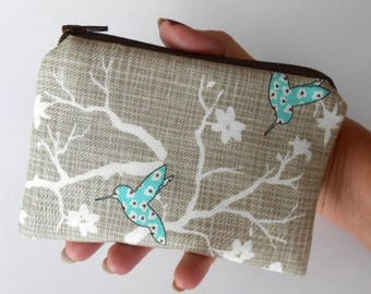 Aqua Hummingbird Zipper Pouch Little Coin Purse ECO Friendly Padded NEW