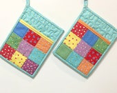 Set of two Pocket Pot Holder Patchwork Handmade
