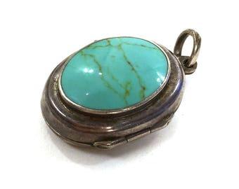 Vintage Sterling Locket / Western Turquoise & Silver Pendant / Boho Cowgirl Native Hippie Gypsy Keepsake Jewelry