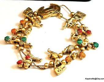 Gold Tone Cheerleader Slide Vintage Charm Bracelet High School Charm Bracelet Cheerleader Charms Clam Clasp Tofa Like Bracelet
