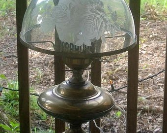 Eclipse Sale Fenton Brass Electric Vintage Lamp Etched Fenton Lamp Shade Electric Table Lamp Hurricane Lamp