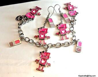 Pink Robot Cellphone Charm Bracelet and Dangle Earrings Pink Charms Vintage Bracelet Girls Gift