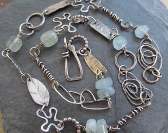 Silver Charm Necklace Wrap Bracelet Blue Aquamarine Gemstone Charm Bracelet Boho Necklace Flower Charm Bit and Piece Eclectic Jewelry Silver