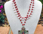 Guadalupe Glass Bead and Cross Necklace