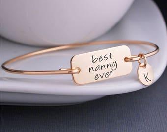 Best Nanny Ever Jewelry, Gold Nanny Bracelet, Christmas Gift for Nanny, Nanny Gift from Kids, Personalized Nanny Bracelet