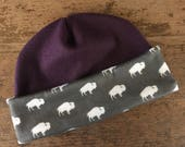 Buffalo Fleece Hat—Purple, Unisex, Adult Size L, Beanie, Cap, Winter, Ski Cap, Ski Hat, Snow, Cold Weather, Outerwear