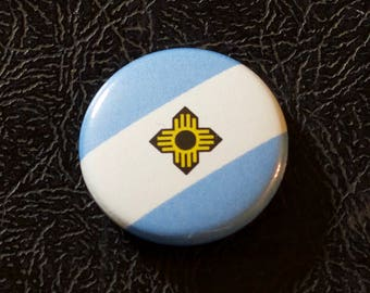 "1"" Madison WI flag button - Wisconsin, city, pin, badge, pinback"