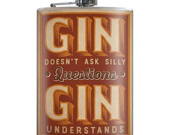 Gin Understands - Vintage 20th Century 8oz Stainless Steel Flask - comes in a GIFT BOX -  by Trixie & Milo