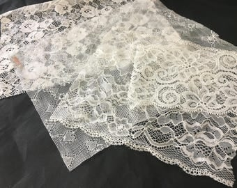 assortment of various smaller sheer lingerie tulle lace / mesh swatches — ivory (floral)  — different sizes and patterns