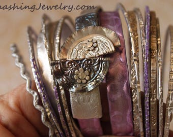 Lavender Purple and Silver Gyspy Bangle Stack from Recycled Knitting Needles and Smashed buttons ~ Hippie Bohemian Boho Style Jewelry