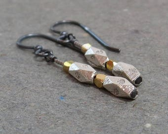 Silver and Gold Earrings Mixed Metals Bead Stacks Gift for Her Gift for Girlfriend