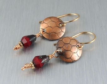 Textured Copper Earrings - Copper and Red Earrings - Copper Drop Earrings