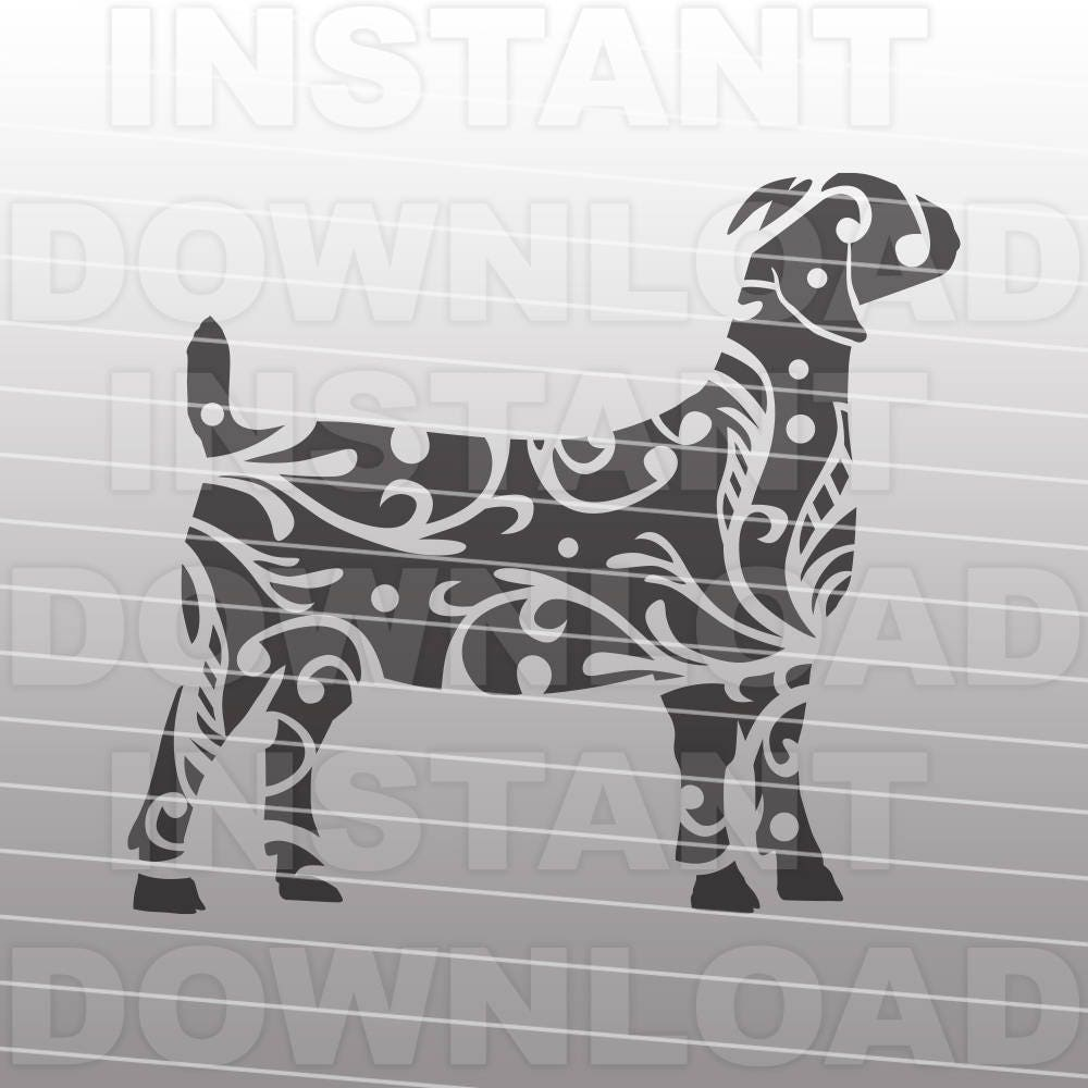 Fancy Decorative Ornate Show Boer Goat SVG File,Stockshow