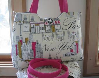 Shoulder Bag Handbag Purse Tote IPad Netbook Tote Travel Bag Removable Strap Vegan Leather Paris New York Antiquebasketlady
