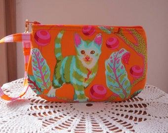 Disco KittyTabby Road  Wristlet Zipper Gadget Pouch Camera Bag  Marmalade Skies