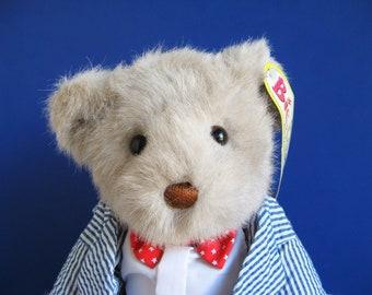 Vintage Bialosky Gund jointed Teddy Bear Stuffed Animal 1980s Toys Red white stars bow tie Blue white seersucker jacket Patriotic colors